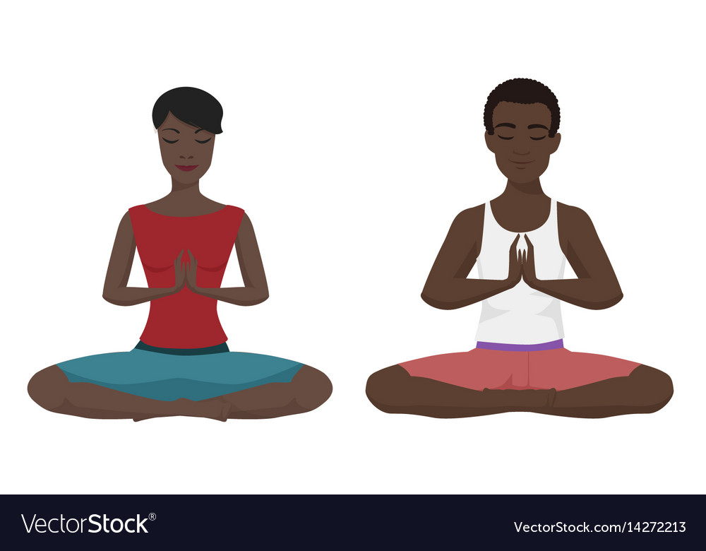 African american couple yoga vector image