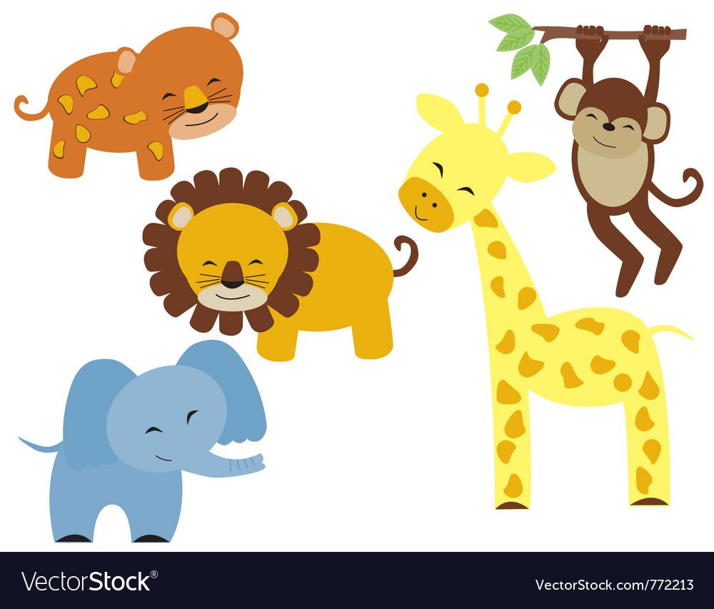 Baby safari animals vector image