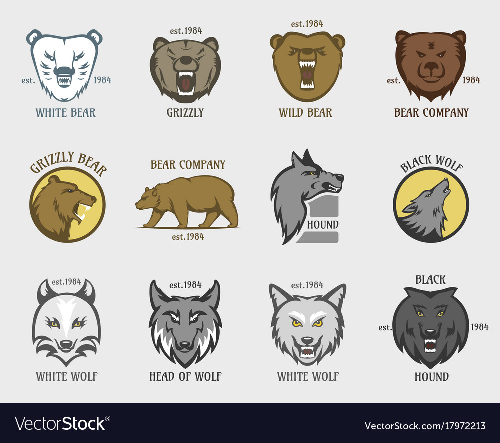 Bear and wolf head animal badge vector image