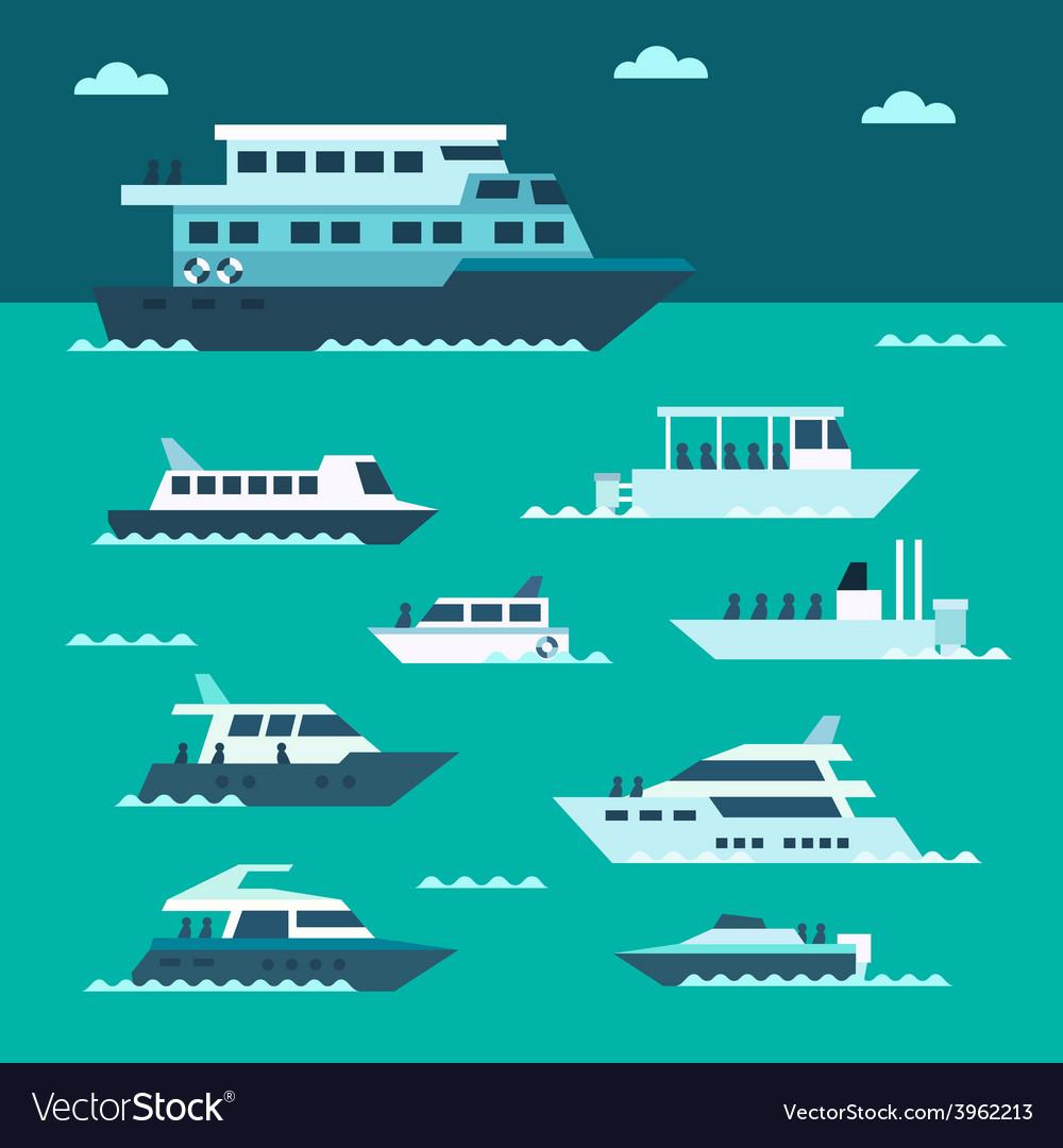 Flat design of boat set vector image