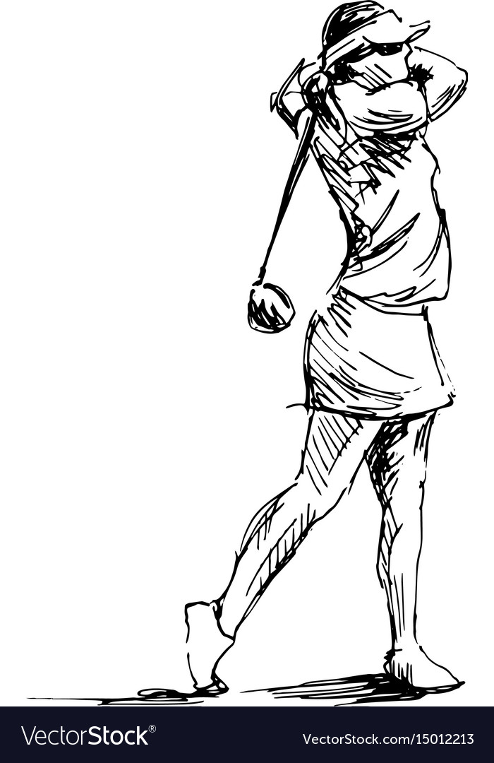 Hand sketch woman playing golf vector image