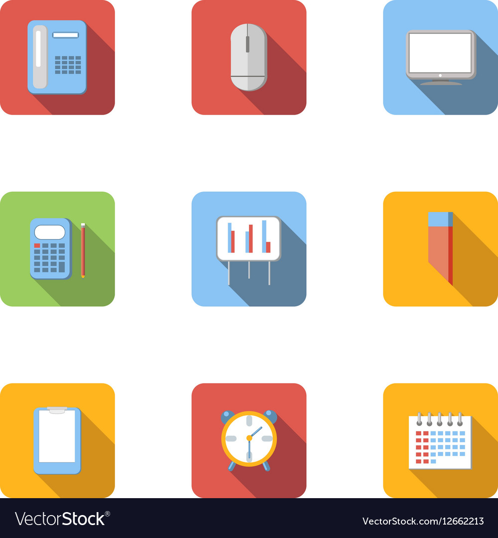 Office work icons set flat style vector image