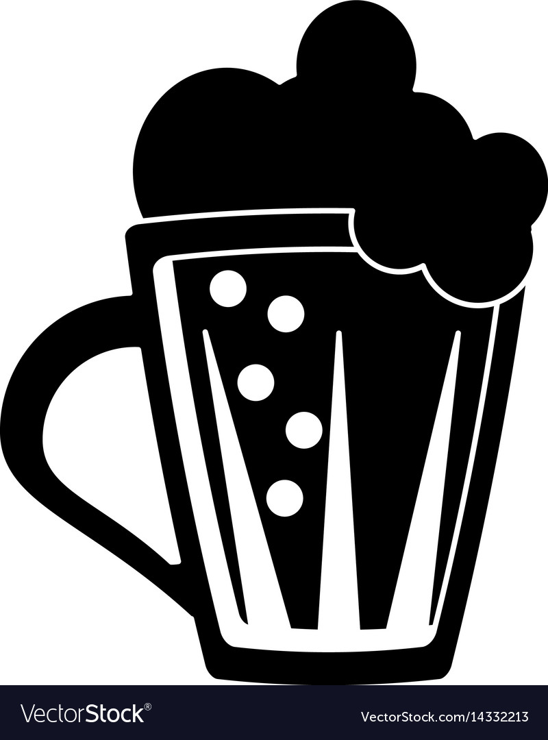St patricks day glass beer cold pictogram vector image