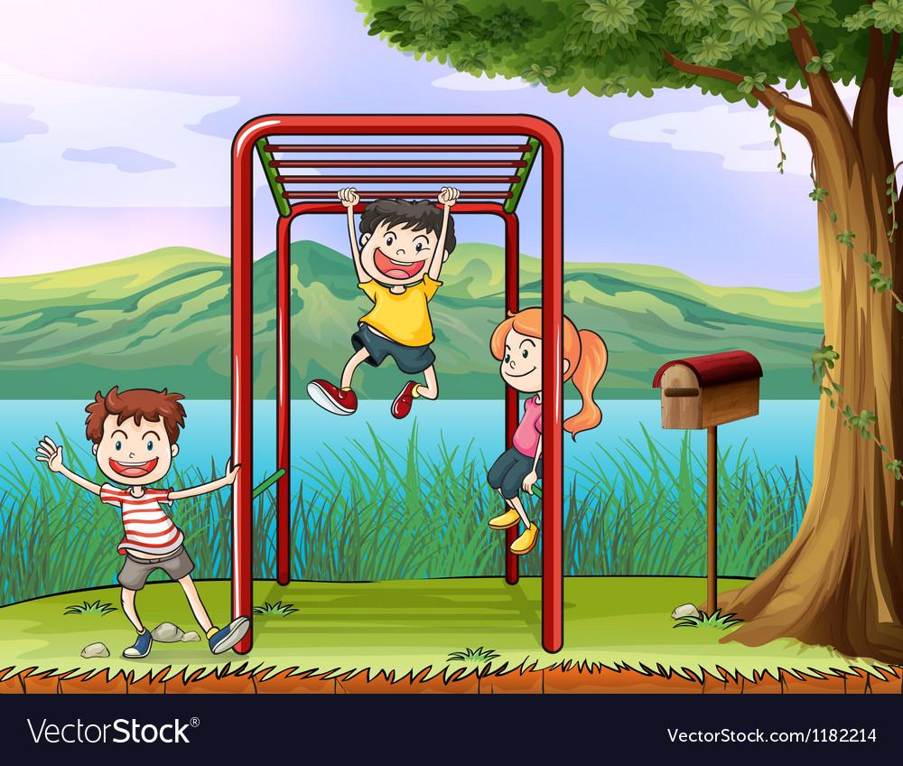 Cartoon Monkey Bar Kids vector image