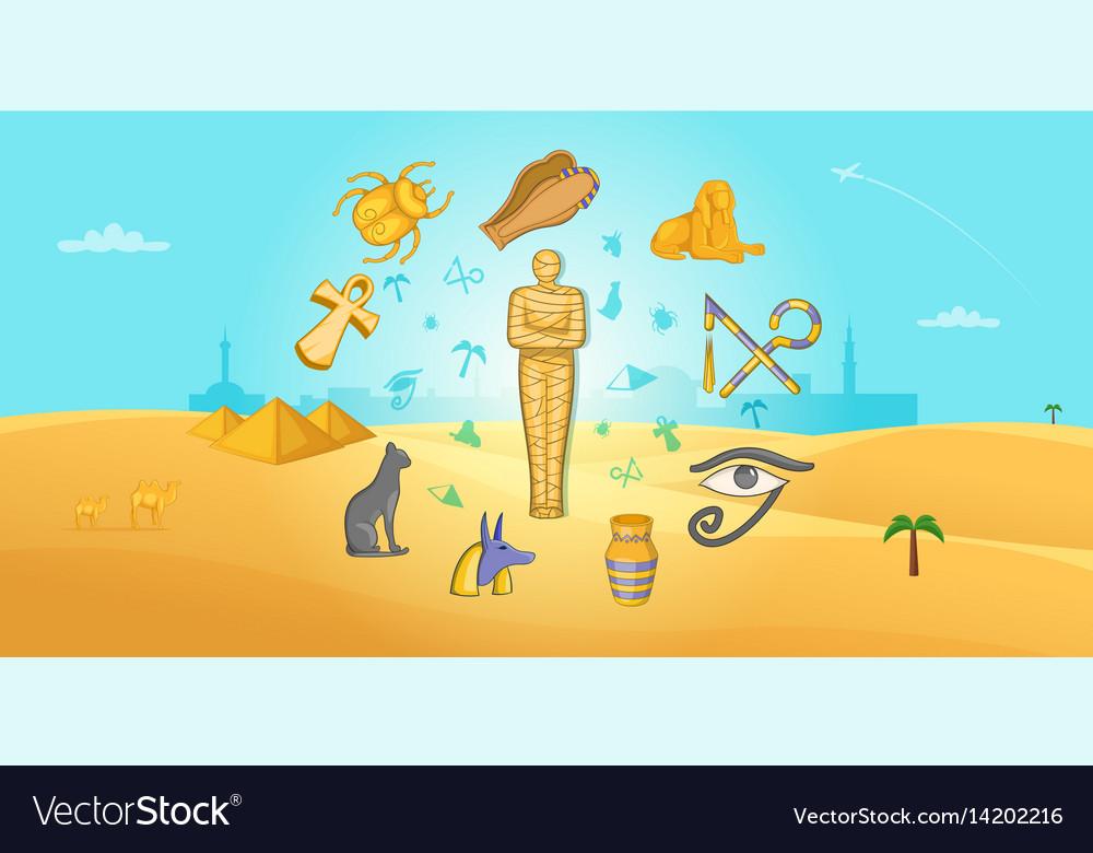 Egypt travel horizontal banner cartoon style vector image