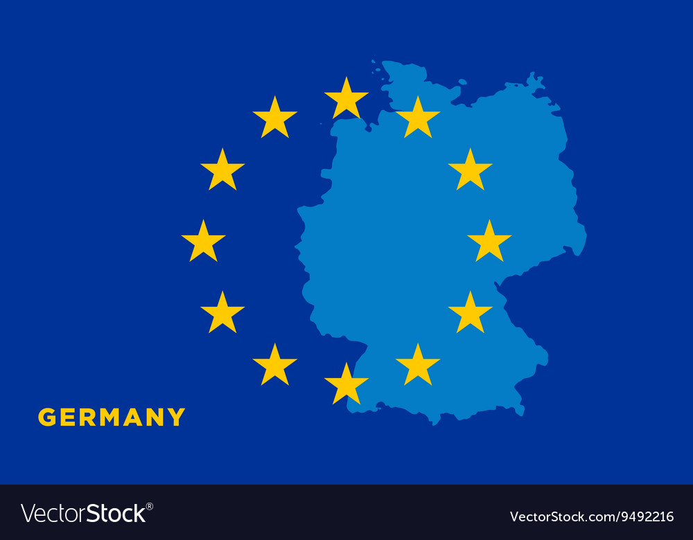 Flag of European Union with Germany on background vector image