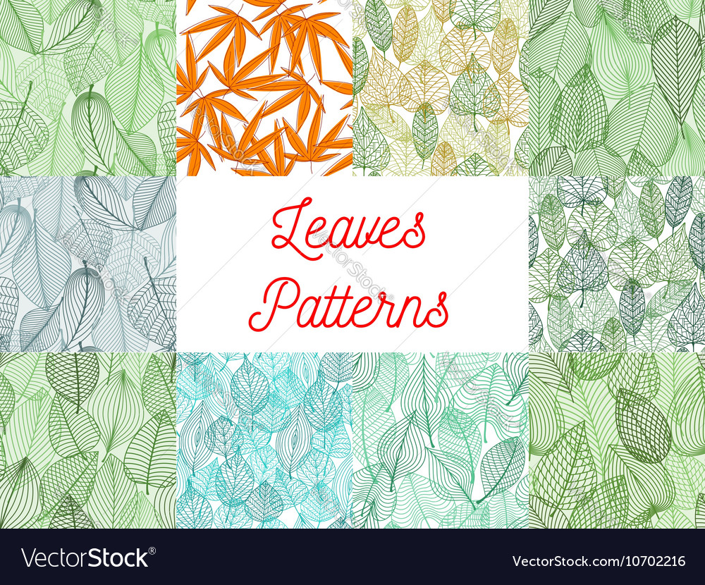 Green and yellow leaves seamless patterns set vector image
