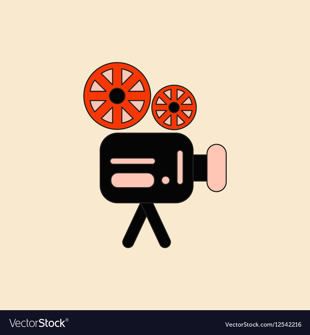 film reel flat icon with long shadow