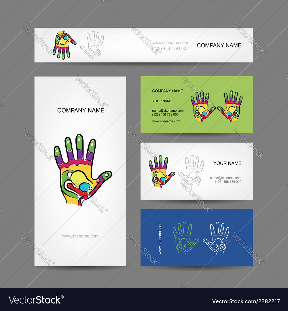 Business cards design with hand massage Royalty Free Vector