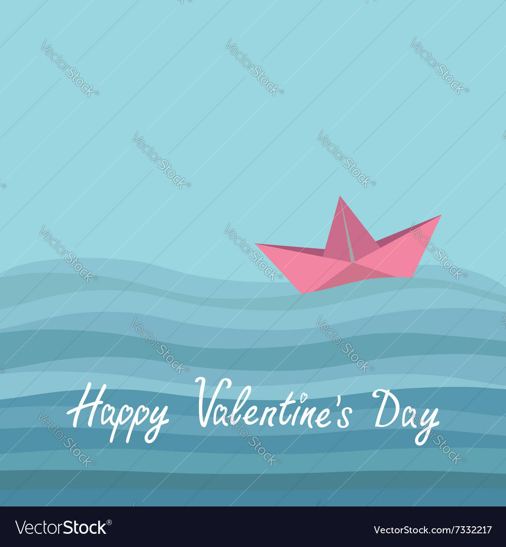 Happy Valentines Day Love card Origami paper boat vector image