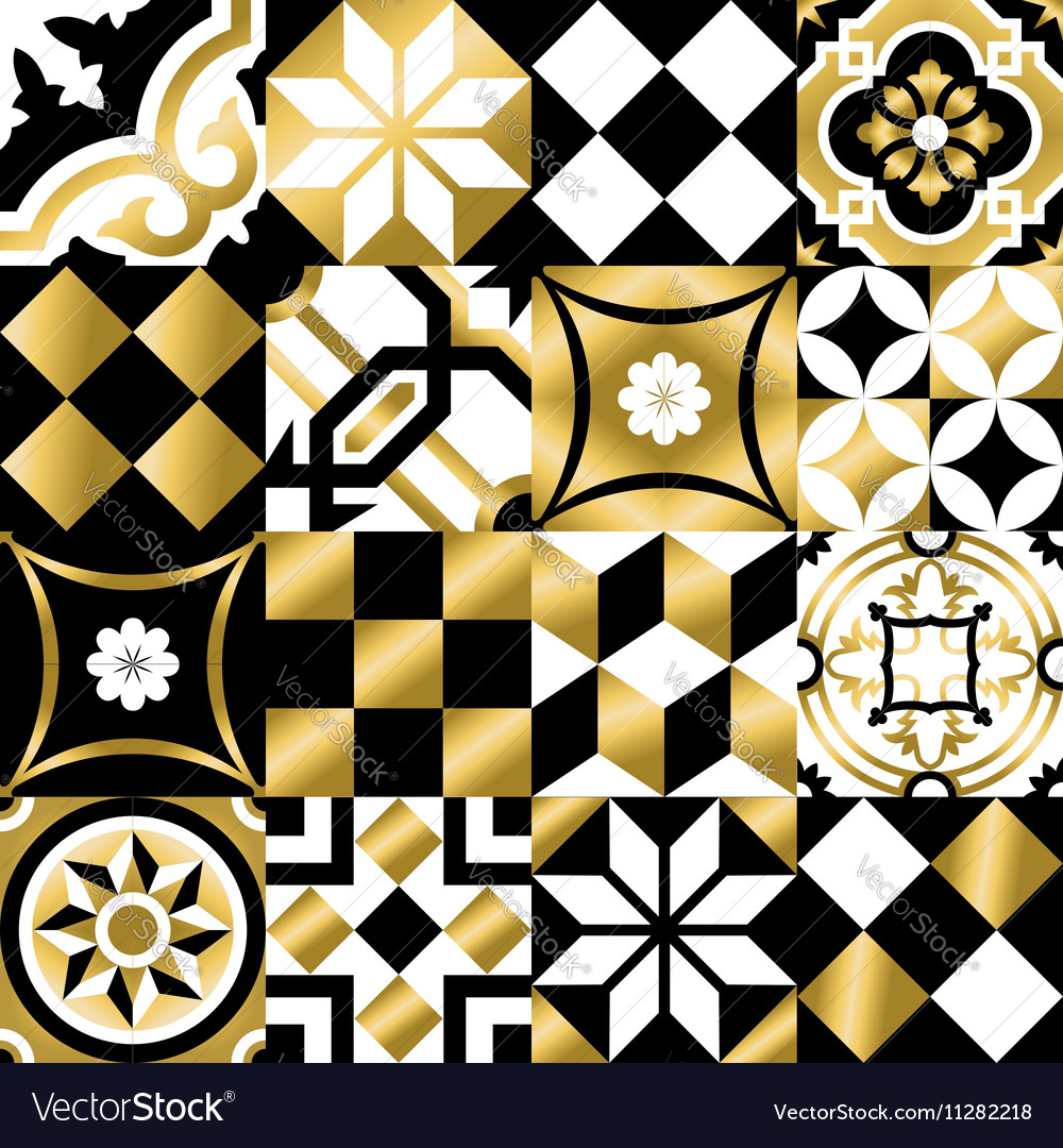 Classic mosaic tile seamless pattern in gold color vector image