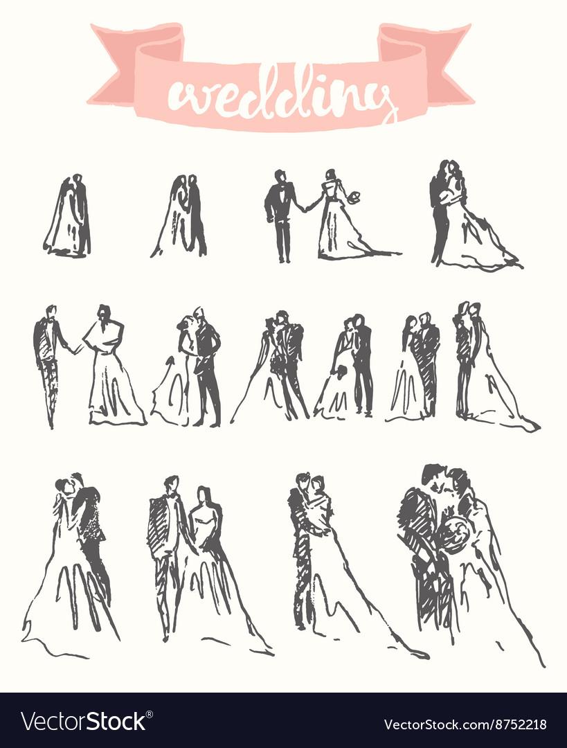 Drawn happy bride groom sketch vector image