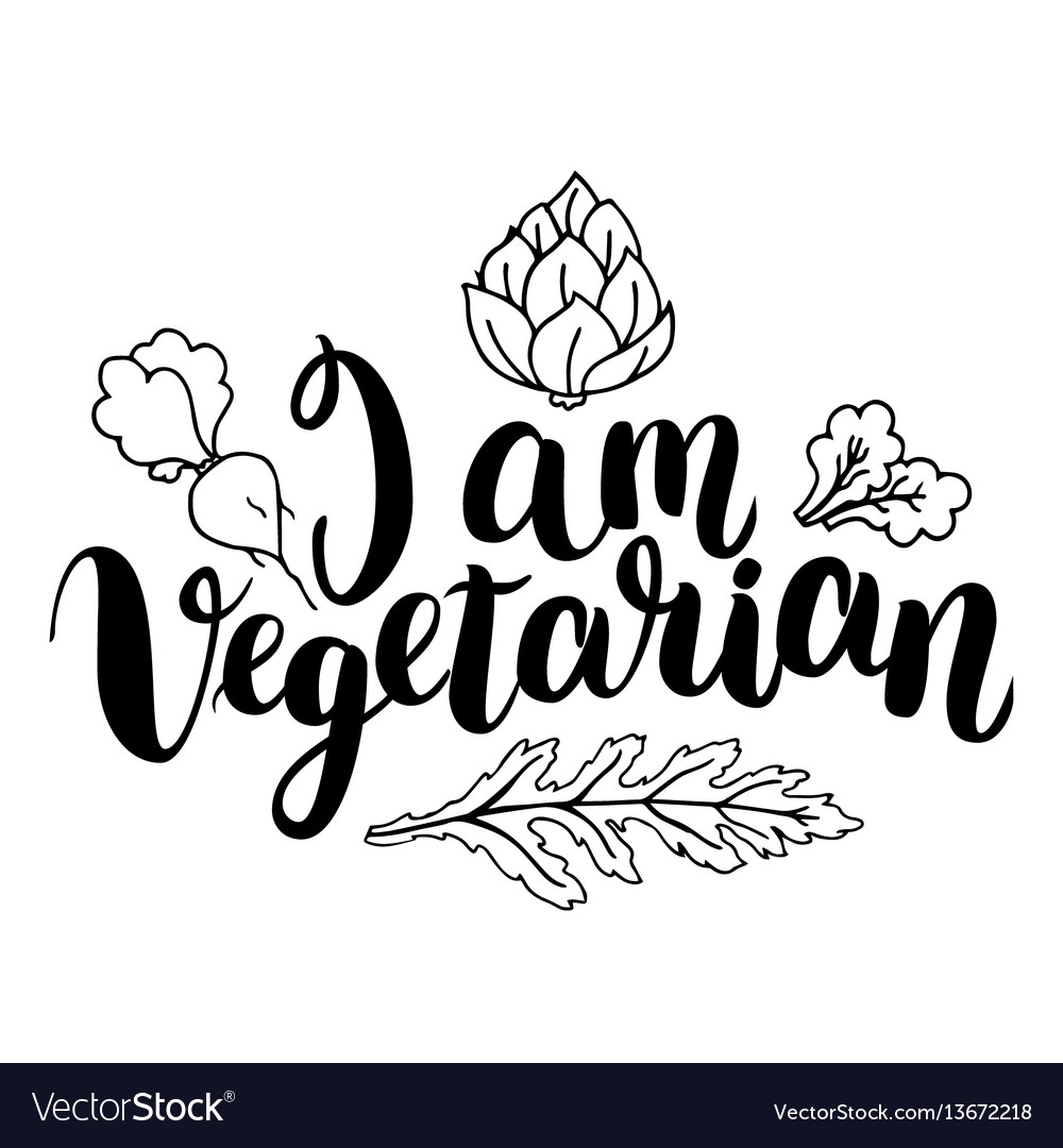 I am vegetarian inspirational quote about vector image