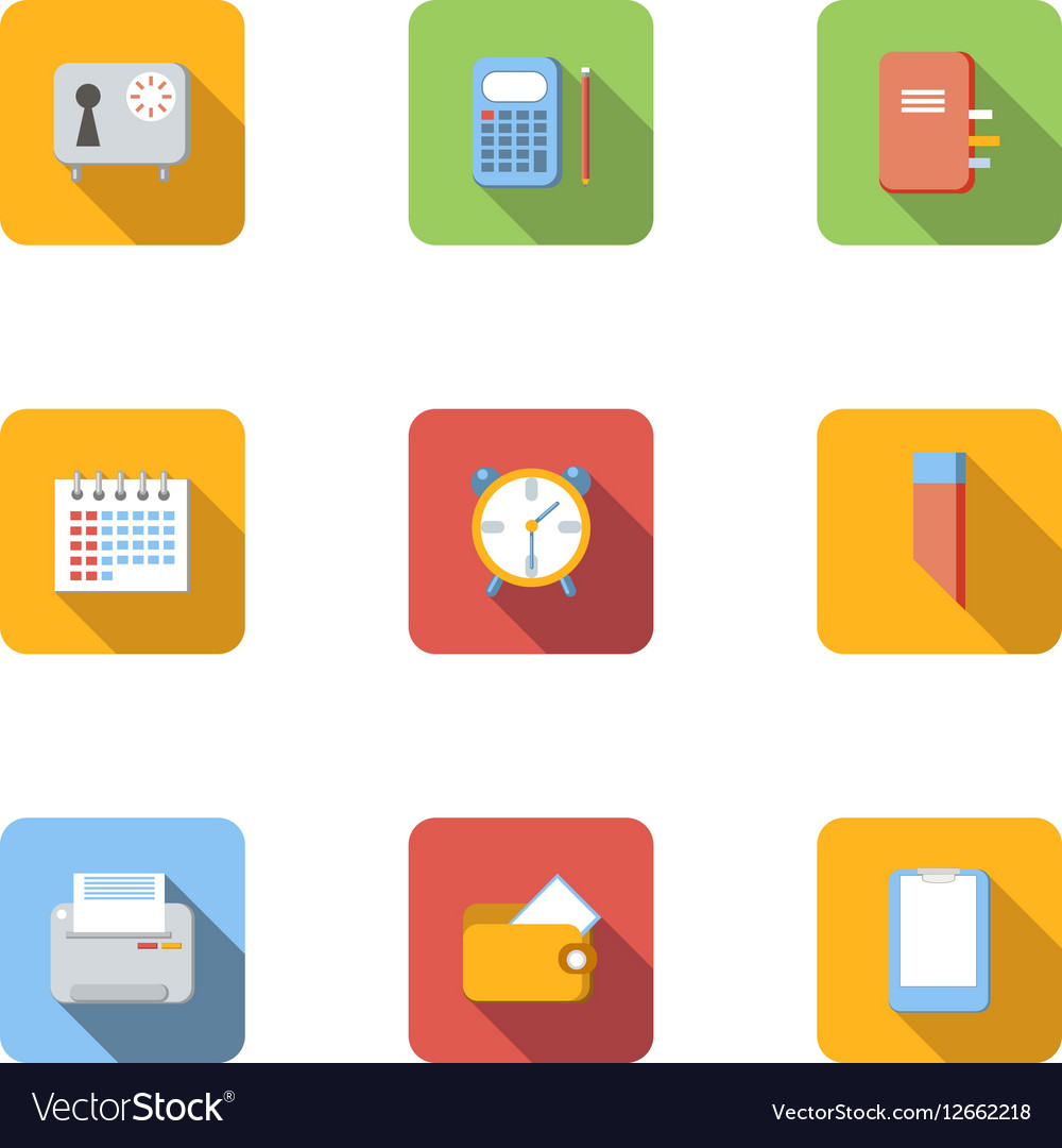 Office things icons set flat style vector image
