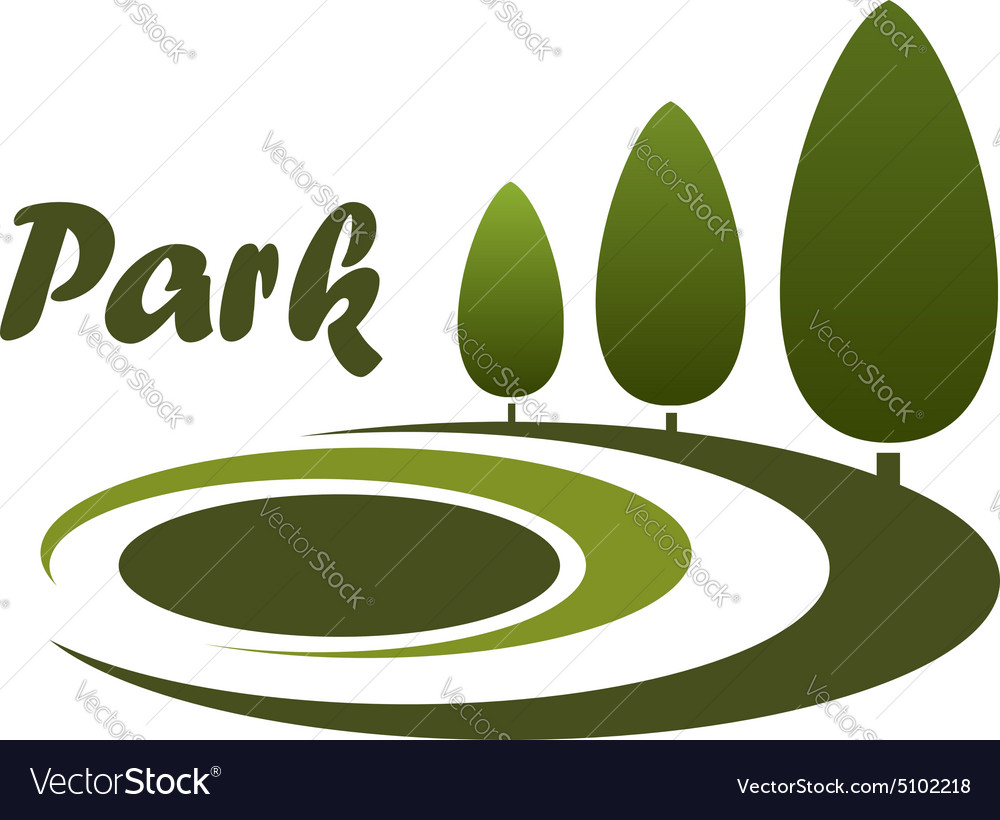 Park landscape design symbol or emblem vector image
