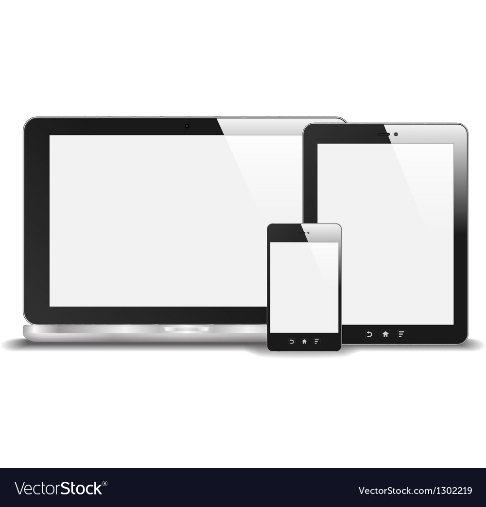 Realistic Notebook Smart Phone And Tablet PC With vector image