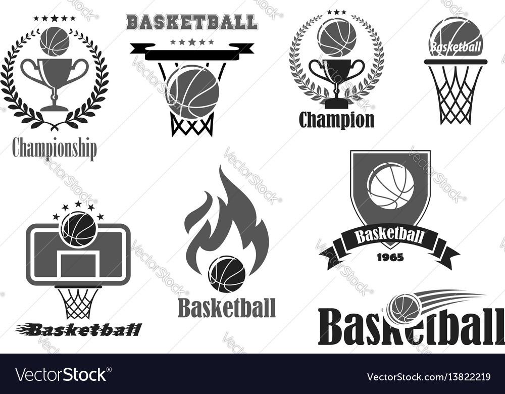 Basketball championship award icons set vector image