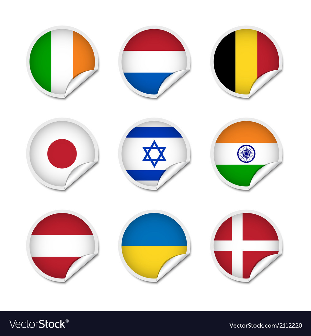 Flag stickers set 2 vector image