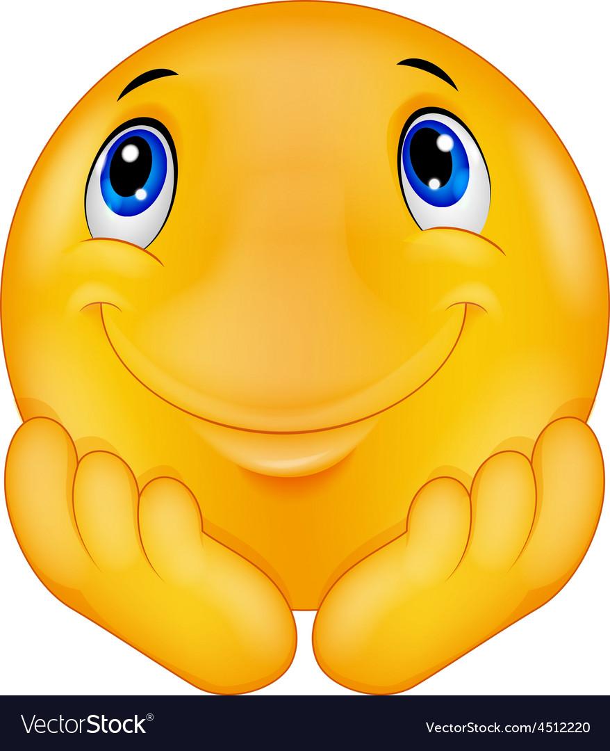 Thinking emoticon smiley vector image