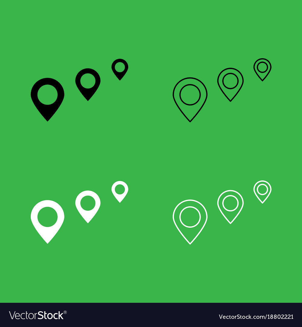 Location way icon black and white color set Vector Image