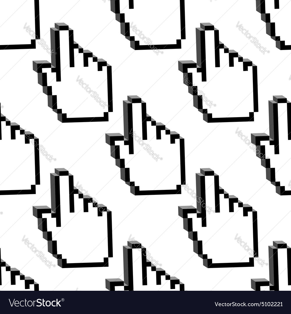 Pixelated cursor hands seamless pattern vector image