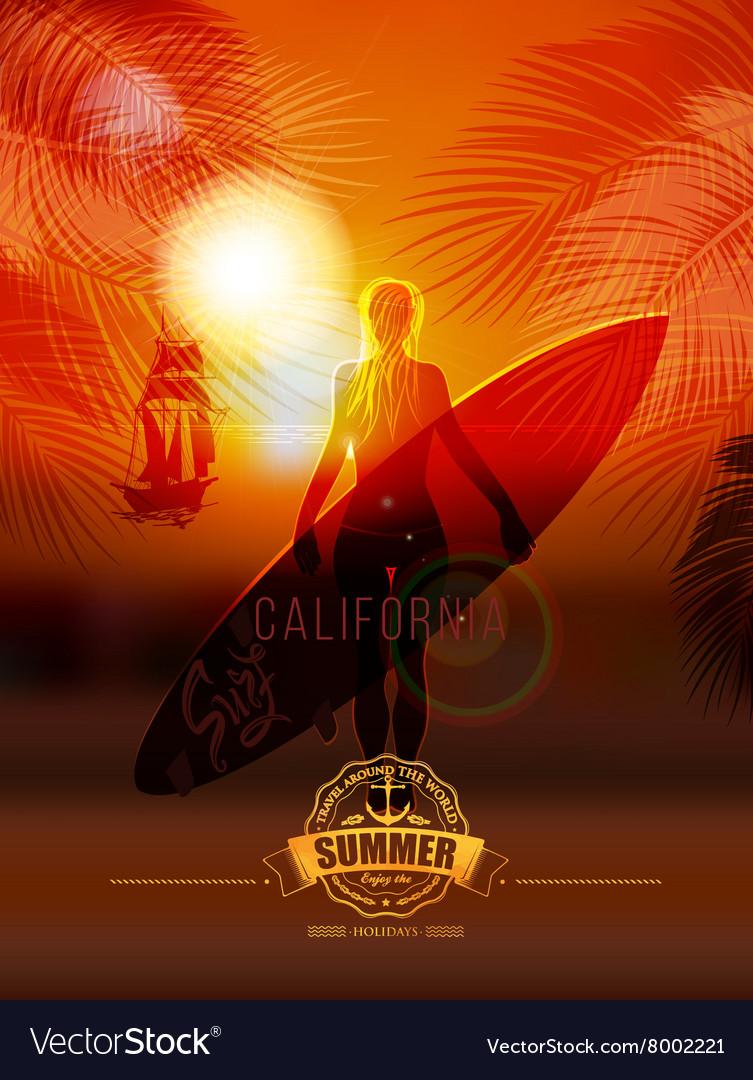 Surfer girl on sea background vector image