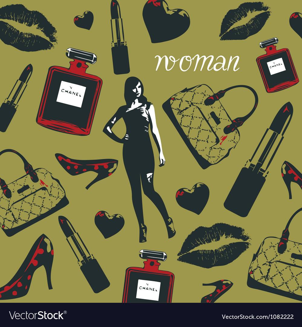 Beauty Fashion Cosmetics Pattern vector image