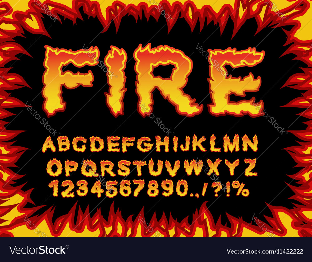 Fire font Flame Alphabet Fiery letters Burning ABC vector image