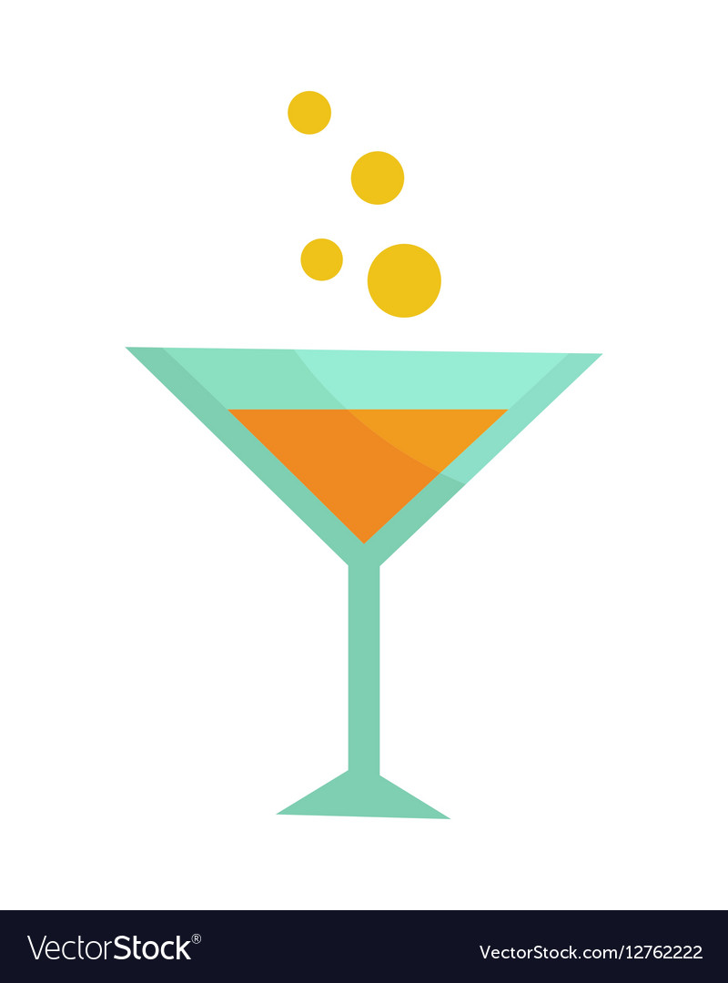 Glass with Champagne Isolated Martini Cocktail vector image