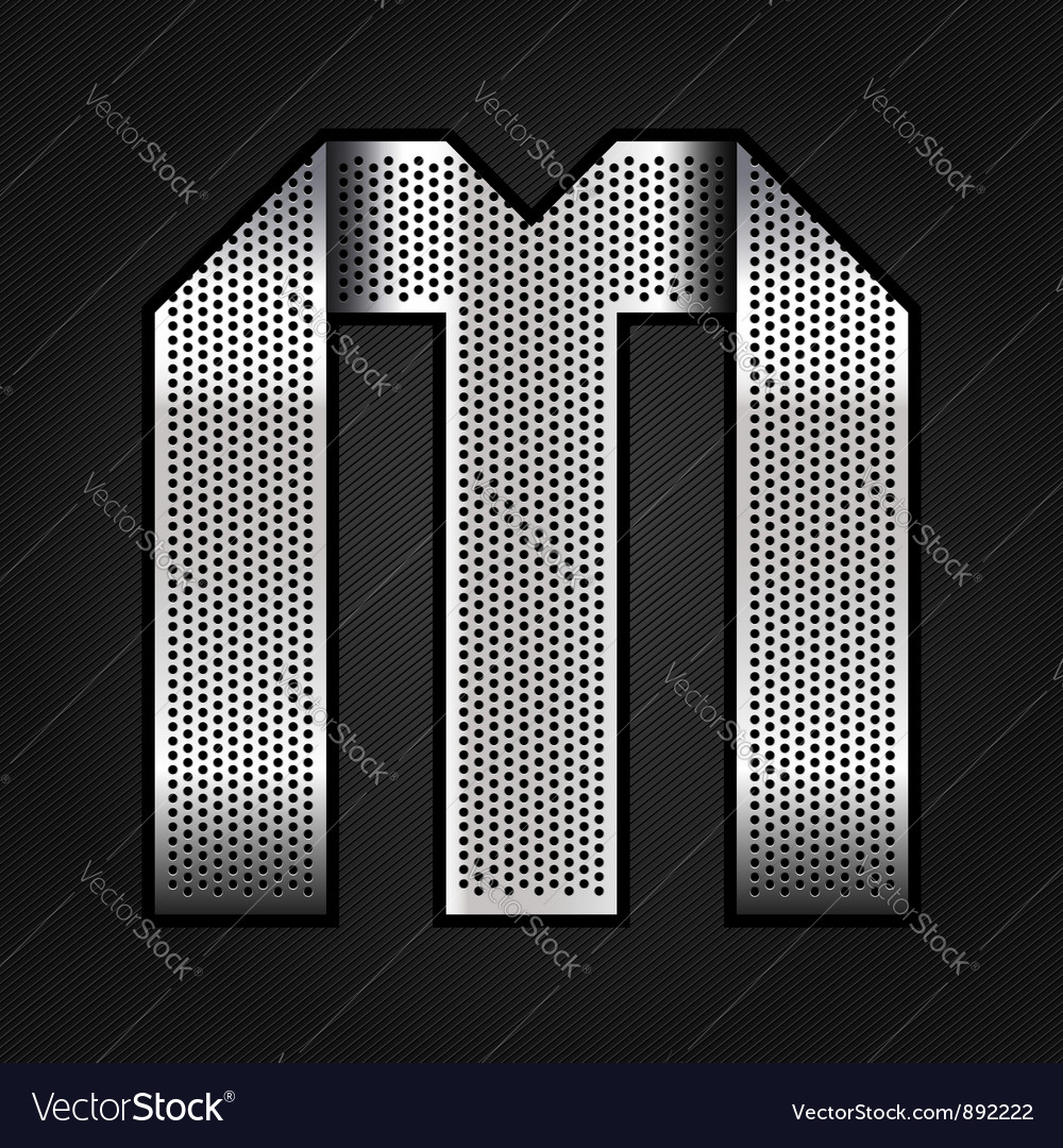 Letter metal chrome ribbon - M vector image