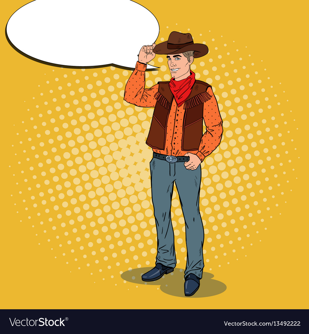Pop art cowboy in hat with comic speech bubble vector image