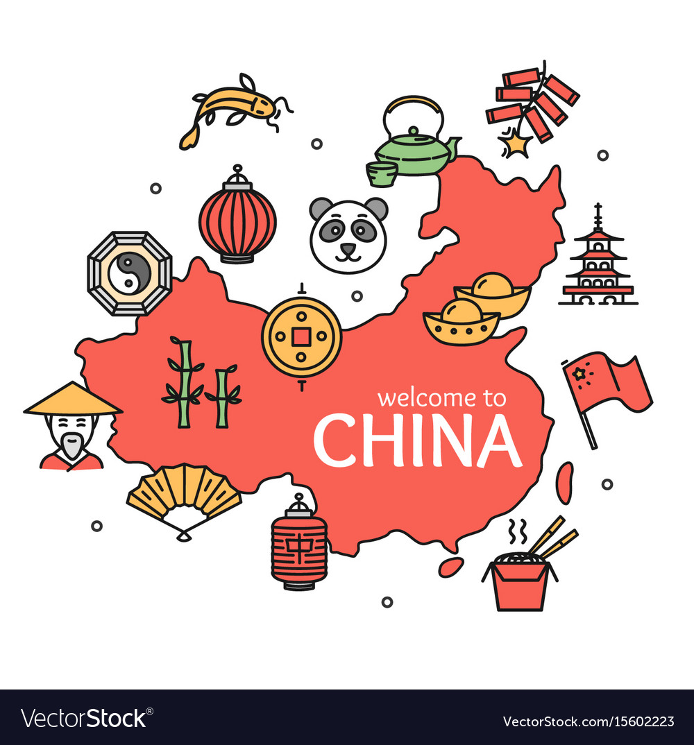 China design template line icon welcome concept vector image