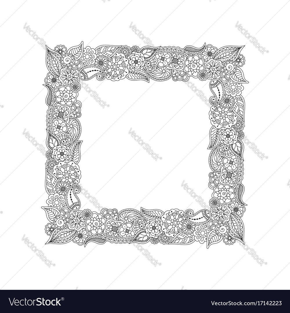Frame of floral doodle elements coloring page vector image