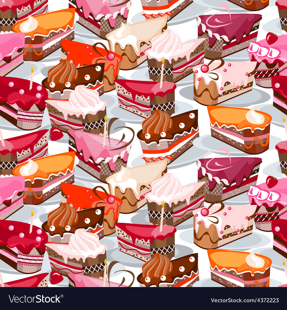 Seamless background made of cake slices vector image