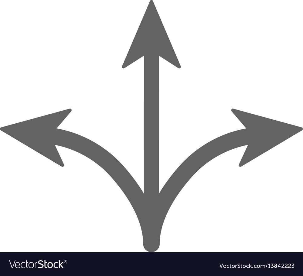 Three way icon arrow separated on three vector image