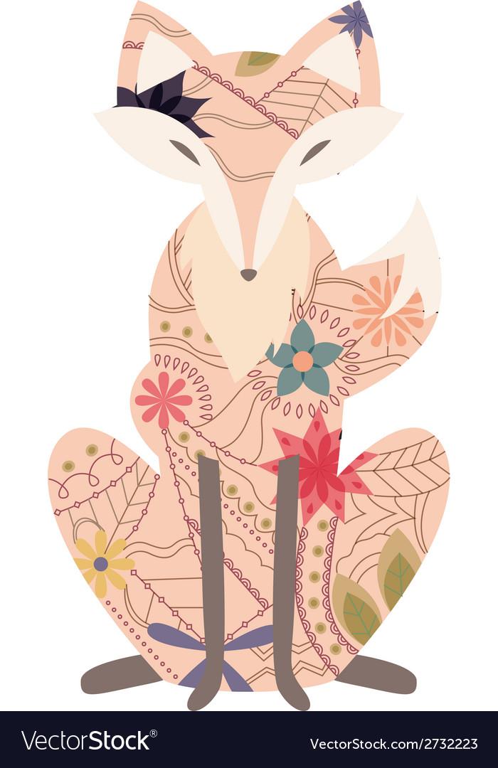 Vintage fox vector image
