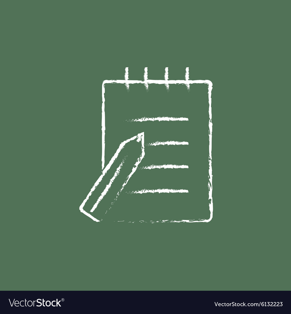 Writing pad and pen icon drawn in chalk vector image