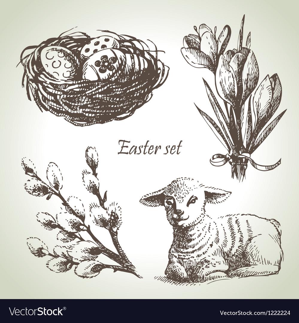 Easter set hand drawn sketch vector image