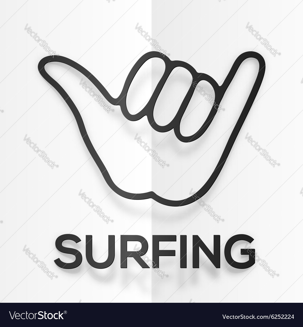 Drawing Lines Surf Movie : Paper silhouette black surfers shaka symbol with vector image