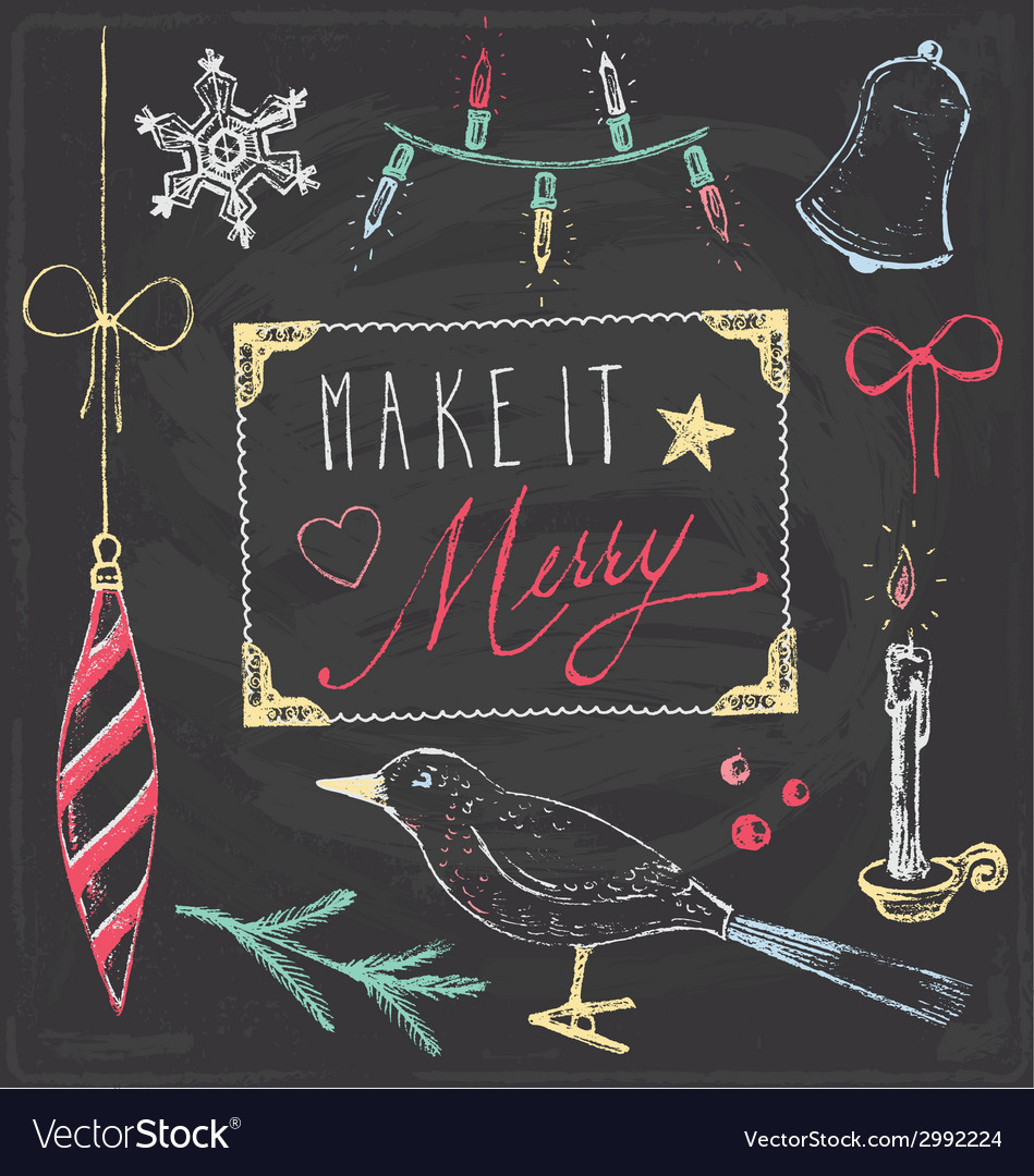 Vintage Christmas Chalkboard Hand Drawn Set 5 vector image