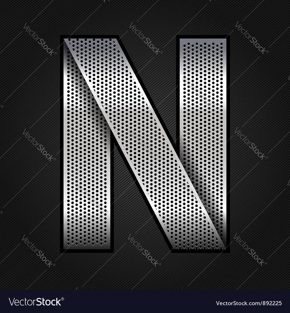 Letter metal chrome ribbon - N vector image