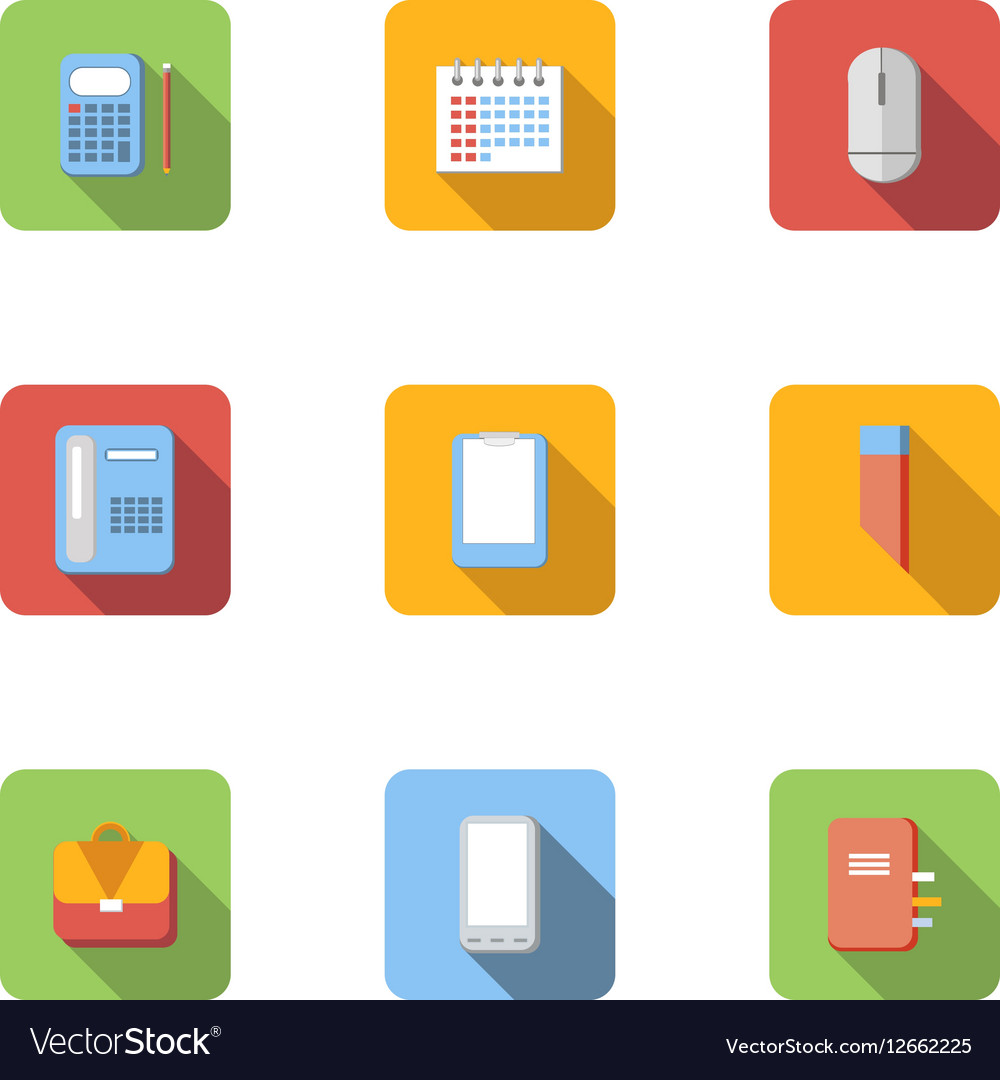 Office and business icons set flat style vector image