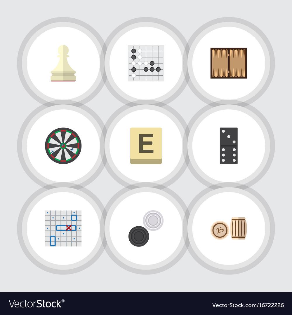 Flat icon games set of gomoku mahjong chequer vector image
