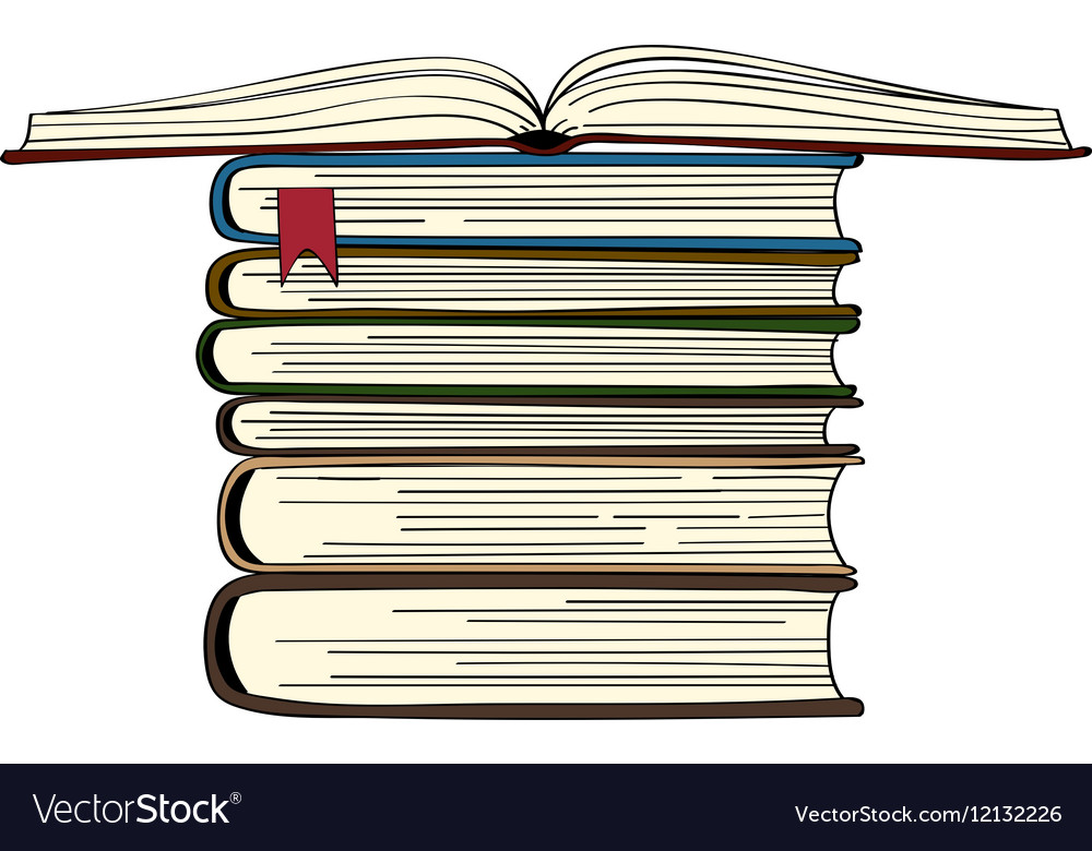 Hand drawn book stack vector image