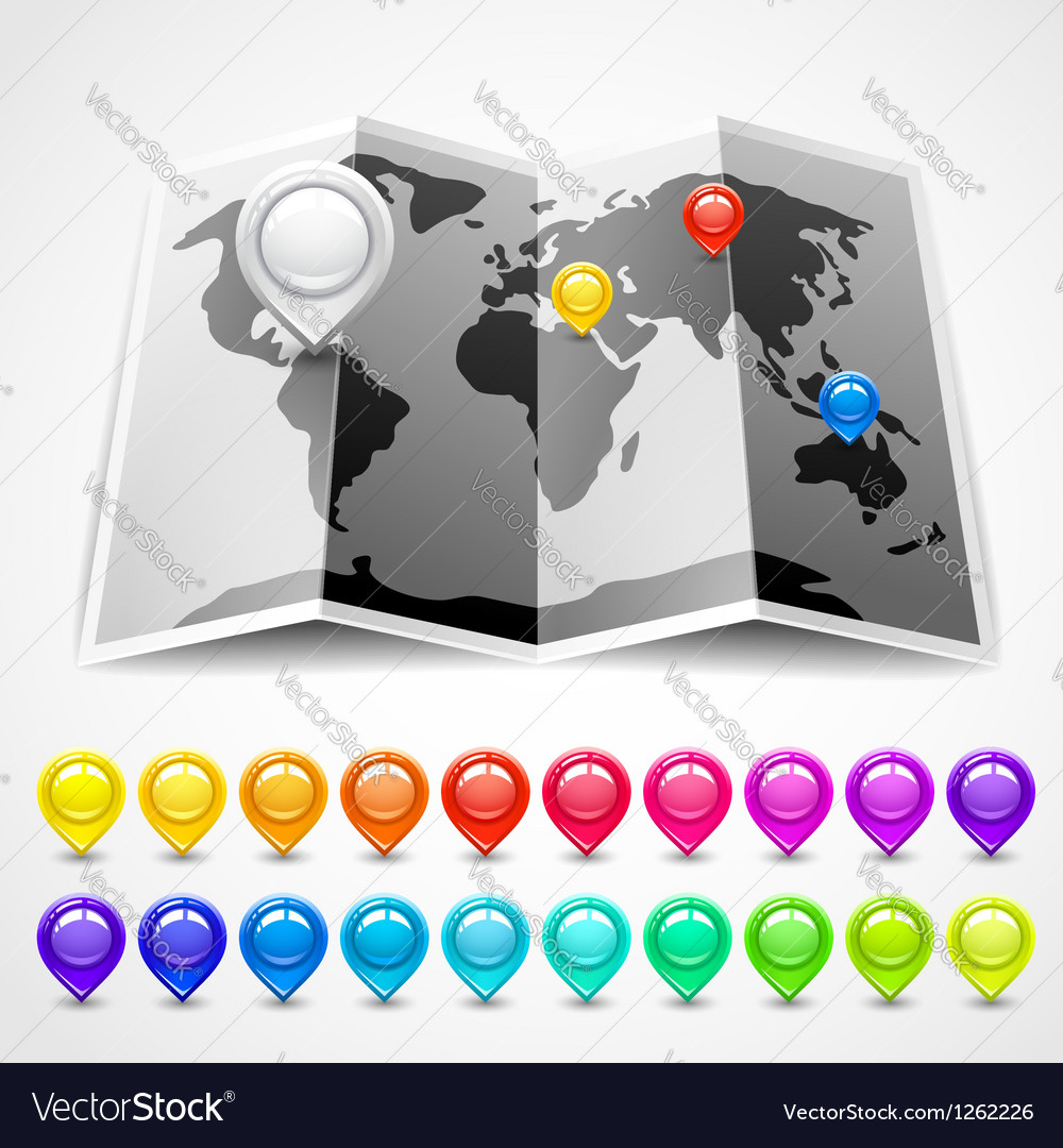 Map with pin pointers location vector image
