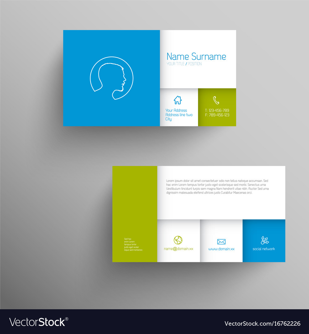 Modern blue green business card template Vector Image