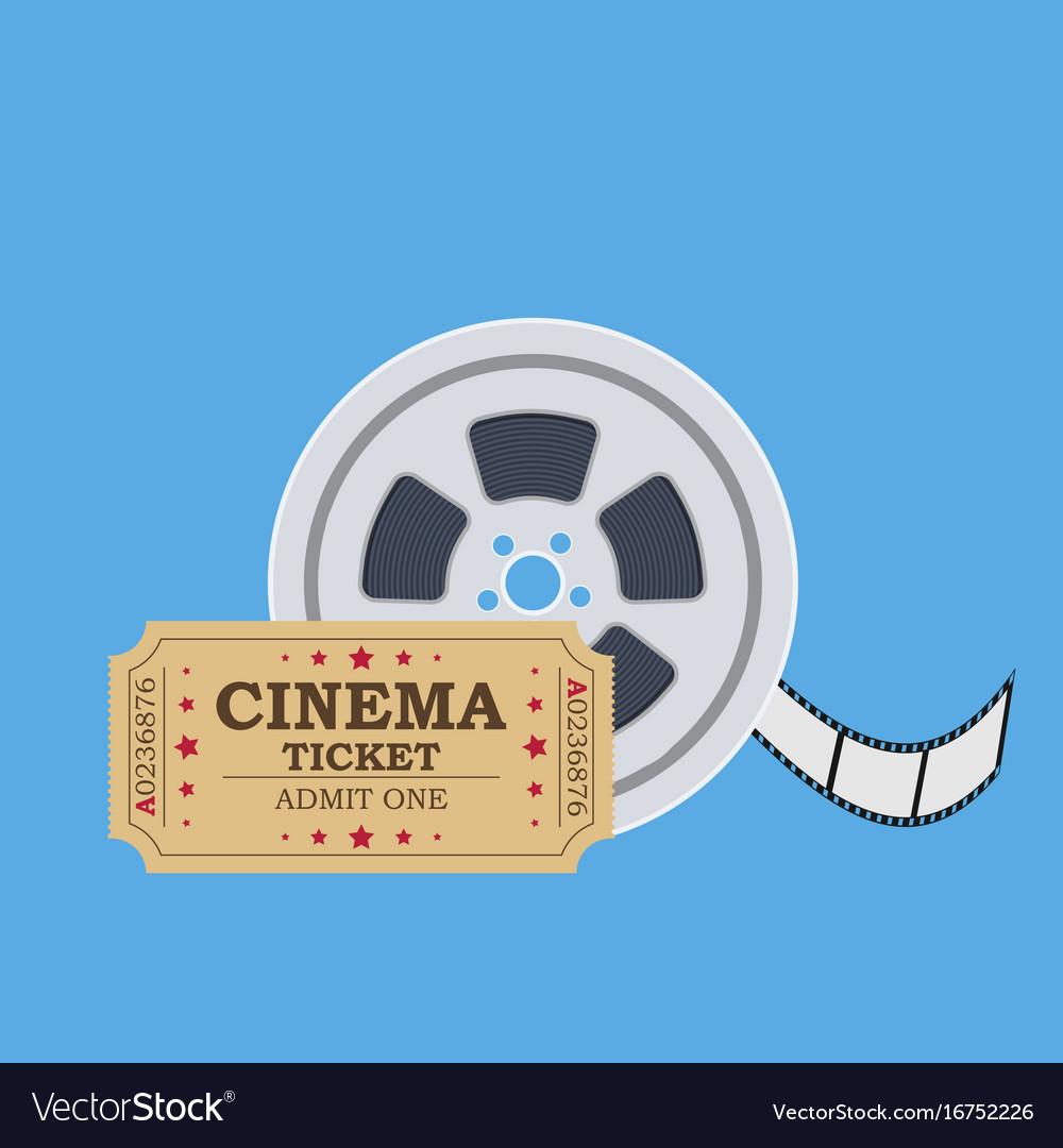 Retro cinema ticket and film reel vector image