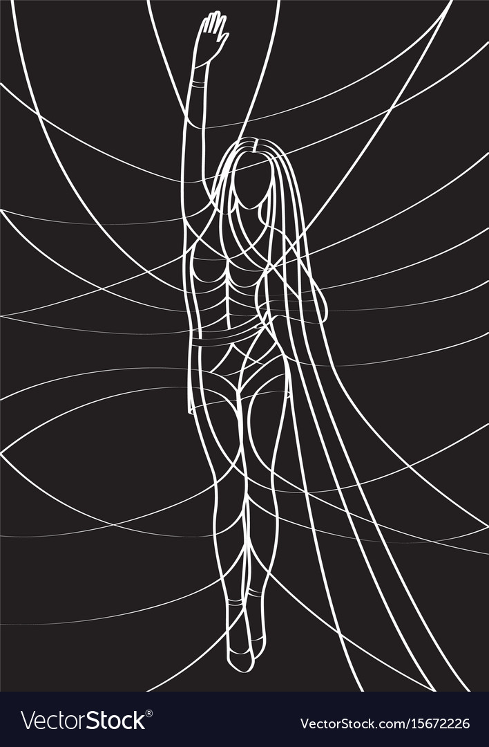Sexy lady hand up white on black vector image