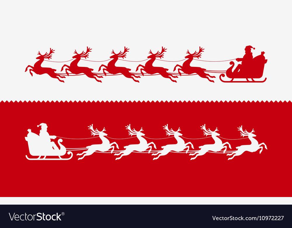 Santa Claus in sleigh pulled by reindeer vector image