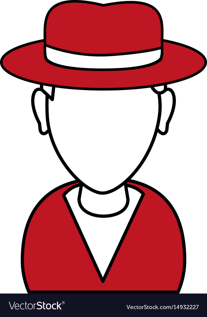 Silhouette in red and white of cartoon half body vector image